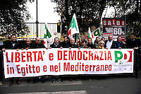 Roma 1 Febbraio 2011.Manifestazione davanti all'Ambascita dell'Egitto per chiedere Libertà e democrazia in Egitto della Federazione Romana del Partito Democratico