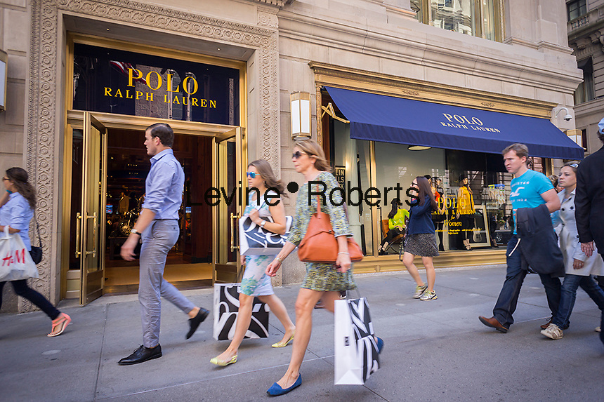 The brand new Polo Ralph Lauren store of Fifth Avenue in New York on Friday, September 12, 2014. Besides being a flagship store on a premiere shopping street Lauren is following the lead of numerous other retailers and has a coffee shop inside the store. The cafe sells Ralph's Coffee with the custom blend of beans personally chosen by coffee aficionado Lauren.  (© Richard B. Levine)