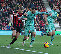 Bournemouth's David Brooks (left) battles with Arsenal's Sead Kolasinac (right)  <br /> <br /> Photographer David Horton/CameraSport<br /> <br /> The Premier League - Bournemouth v Arsenal - Sunday 25th November 2018 - Vitality Stadium - Bournemouth<br /> <br /> World Copyright &copy; 2018 CameraSport. All rights reserved. 43 Linden Ave. Countesthorpe. Leicester. England. LE8 5PG - Tel: +44 (0) 116 277 4147 - admin@camerasport.com - www.camerasport.com