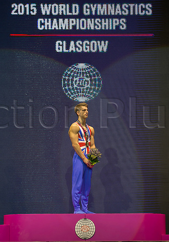 31.10.2015. Glasgow, Scotland. FIG Artistic Gymnastics World Championships. Day Nine. Max WHITLOCK (GBR) Pommel gold  Medallist listening to the the national anthem of Great Britain during the medal ceremony .