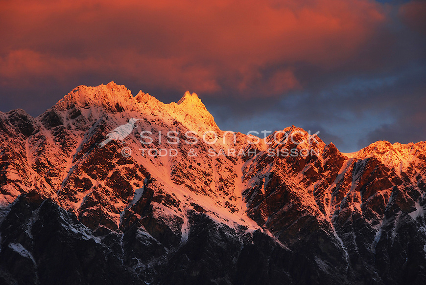 Snow covered Single Cone, the highest peak of the Remarkables at sunset, Queenstown, South Island