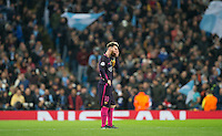 Lionel Messi of Barcelona reaction as Man City equalise during the UEFA Champions League match between Manchester City and Barcelona at the Etihad Stadium, Manchester, England on 1 November 2016. Photo by Andy Rowland / PRiME Media Images.