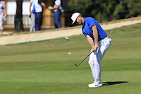 Lucas Bjerregaard (DEN) plays his 2nd shot on the 5th hole during Sunday's Final Round 4 of the 2018 Omega European Masters, held at the Golf Club Crans-Sur-Sierre, Crans Montana, Switzerland. 9th September 2018.<br /> Picture: Eoin Clarke | Golffile<br /> <br /> <br /> All photos usage must carry mandatory copyright credit (&copy; Golffile | Eoin Clarke)