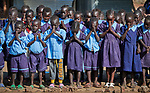 Students pray at the beginning of the day in a primary school in Bunj, South Sudan, sponsored by Jesuit Relief Service. The community is host to more than 130,000 refugees from the Blue Nile region of Sudan. JRS, with support from Misean Cara, provides educational and psycho-social services to both refugees and the host community.