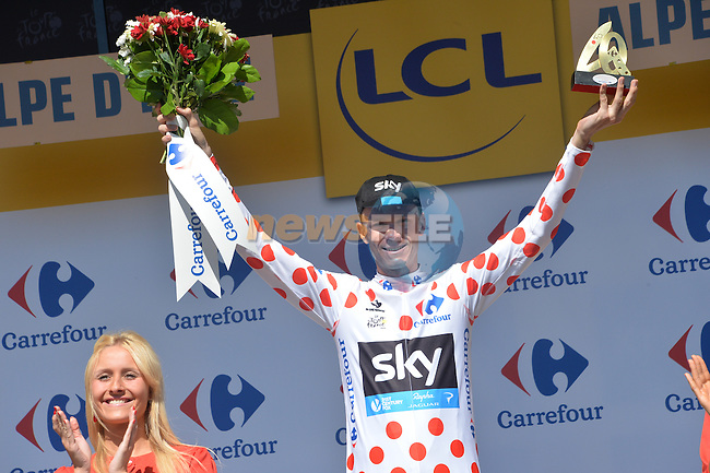 Race leader Christopher Froome (GBR) Team Sky takes back the Polka Dot Jersey at the end of Stage 20 of the 2015 Tour de France running 110.5km from Modane Valfrejus to Alpe d'Huez, France. 25th July 2015.<br /> Photo: ASO/G.Demouveaux/Newsfile