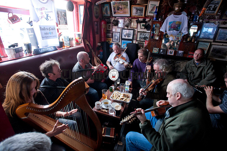 A session gets underway at Connolly's Bar during An Fleadh Na gCuach in Kinvara at the weekend. Photograph by Declan Monaghan