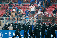 4th February 2020; National Stadium of Chile, Santiago, Chile; Libertadores Cup, Universidade de Chile versus Internacional; fans of Universidad de Chile protest as massed police move in