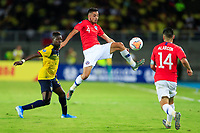 PEREIRA, COLOMBIA - JANUARY 18: Chile's Sebastian Cabrera (C) jumps to control the ball during their CONMEBOL Preolimpico soccer game against Ecuador at the Hernan Ramirez Villegas Stadium on January 18, 2020 in Pereira, Colombia. (Photo by Daniel Munoz/VIEW press/Getty Images)