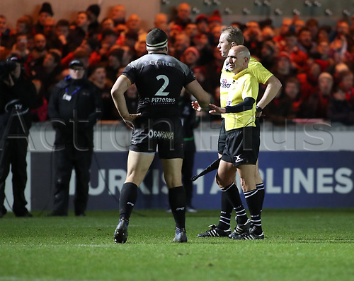 20th January 2018, Parc y Scarlets, Llanelli, Wales; European Rugby Champions Cup, Scarlets versus Toulonnaise; Referee Wayne Barnes watches the TMO play on the big screen