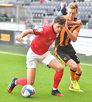 Hull City's Callum Elder battles with Crew Alexandra's Perry Ng<br /> <br /> Photographer Dave Howarth/CameraSport<br /> <br /> The EFL Sky Bet League One - Hull City v Crewe Alexandra - Saturday 19th September 2020 - KCOM Stadium - Kingston upon Hull<br /> <br /> World Copyright © 2020 CameraSport. All rights reserved. 43 Linden Ave. Countesthorpe. Leicester. England. LE8 5PG - Tel: +44 (0) 116 277 4147 - admin@camerasport.com - www.camerasport.com