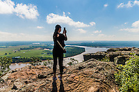 Young woman on top of Petit Jean Mountain, Petit Jean State Park, Arkansas
