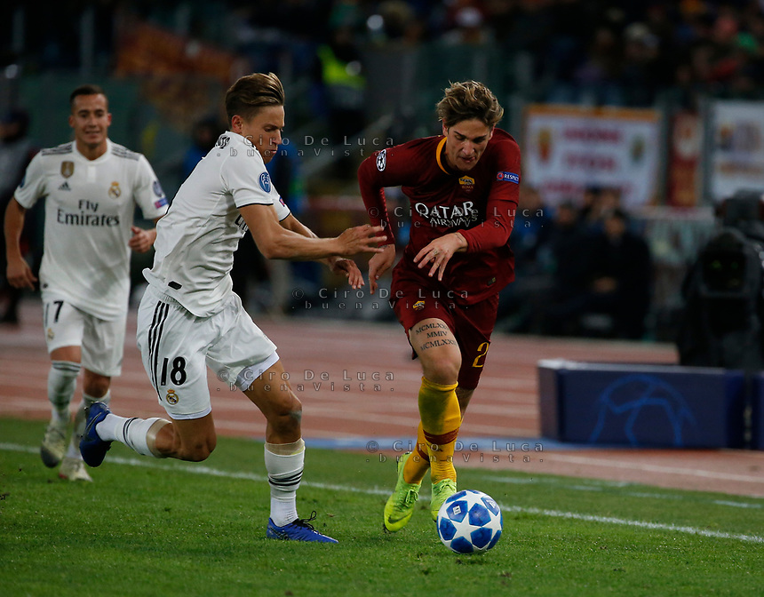 Rick Karsdrop of AS Roma  and Marcos Llorente of Real Madrid  during the Champions League Group  soccer match between AS Roma - Real Madrid  at the Stadio Olimpico in Rome Italy 27 November 2018