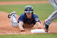 Minnesota Twins outfielder John Murphy (26) slides into third during a minor league spring training game against the Baltimore Orioles on March 20, 2014 at the Buck O'Neil Complex in Sarasota, Florida.  (Mike Janes/Four Seam Images)