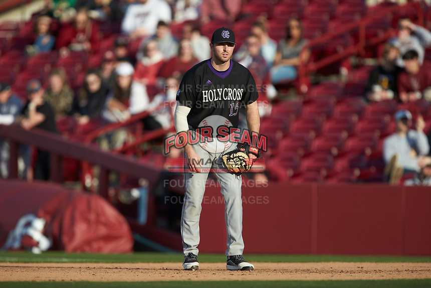 Holy Cross Crusaders first baseman Alex Volpi (15) on defense against the South Carolina Gamecocks at Founders Park on February 15, 2020 in Columbia, South Carolina. The Gamecocks defeated the Crusaders 9-4.  (Brian Westerholt/Four Seam Images)