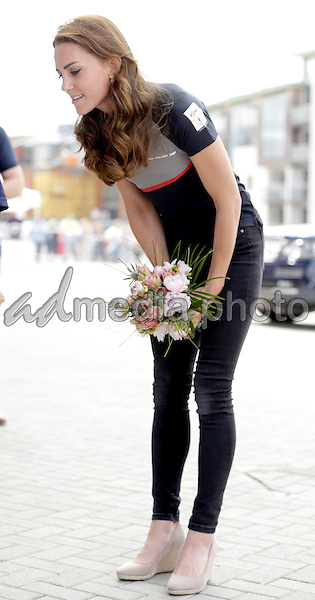 24 July 2016 - Princess Kate Duchess of Cambridge meets members of the 1851 Trust at the America's Cup World Series Race in Portsmouth. The royal couple visited the home of the British competitors for the America's Cup before observing the ongoing competition. Photo Credit: ALPR/AdMedia