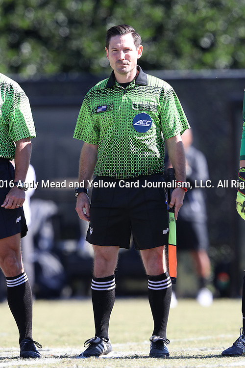 23 October 2016: Assistant Referee Eric Usher. The Wake Forest University Demon Deacons hosted the University of Notre Dame Fighting Irish at Spry Stadium in Winston-Salem, North Carolina in a 2016 NCAA Division I Women's Soccer match. Notre Dame won the game 1-0.