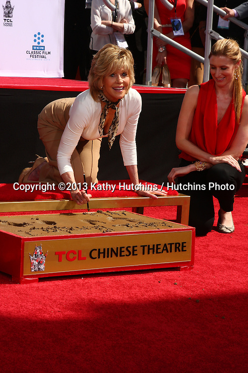 LOS ANGELES - APR 27:  Jane Fonda at the ceremony to install Jane Fonda's handprints and footprints in cement at the Chinese Theater on April 27, 2013 in Los Angeles, CA