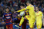 23.04.2016 Barcelona. Liga BBVA day 35. Picture show Luis Suarez (L) and Lichnovsky (R) in action during game between FC Barcelona against Real Sporting at Camp nou