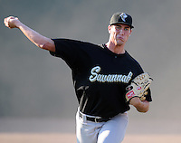 July 2, 2008: RHP Scott Moviel (34) of the Savannah Sand Gnats, Class A affiliate of the New York Mets, prior to a game against the Greenville Drive at Fluor Field at the West End in Greenville, S.C. Photo by:  Tom Priddy/Four Seam Images