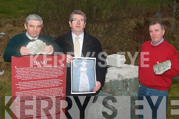 The statue of 'Danu' the celtic fertility goddess was stolen from Rathmore over two weeks ago angering local residents who were proud of the monument which was erected the entrance to the village. .L-R John O'Neil, Diarmuid McCarthy and Brian Kelly.