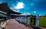 29 July 2018: The Vermont Lake Monsters stand for the National Anthem prior to a game against the Batavia Muckdogs at Centennial Field in Burlington, Vermont. The Lake Monsters defeated the Muckdogs 4-1 in NY Penn League action. Mandatory Credit: Ed Wolfstein Photo *** RAW (NEF) Image File Available ***