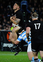 Codie Taylor goes up for the ball during the Rugby Championship match between the NZ All Blacks and Argentina Pumas at Yarrow Stadium in New Plymouth, New Zealand on Saturday, 9 September 2017. Photo: Dave Lintott / lintottphoto.co.nz