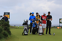 Lucas Bjerregaard (DEN) and Justin Rose (ENG) on the 11th tee during 1st round of the 148th Open Championship, Royal Portrush golf club, Portrush, Antrim, Northern Ireland. 18/07/2019.<br /> Picture Thos Caffrey / Golffile.ie<br /> <br /> All photo usage must carry mandatory copyright credit (© Golffile | Thos Caffrey)