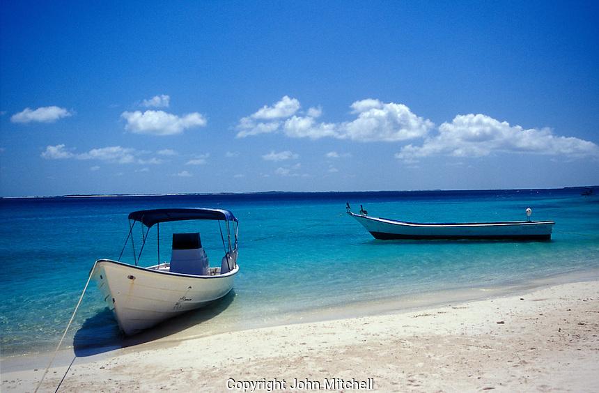 Boats moored on a Caribbean beach, Los Roques islands, Venezuela