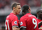 Manchester United's Nemanja Matic celebrates with goalscorer Romelu Lukaku during the premier league match at Old Trafford Stadium, Manchester. Picture date 13th August 2017. Picture credit should read: David Klein/Sportimage