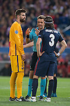 Atletico de Madrid's Gerard Pique and FC Barcelona Filipe Luis during Champions League 2015/2016 Quarter-Finals 2nd leg match. April 13, 2016. (ALTERPHOTOS/BorjaB.Hojas)