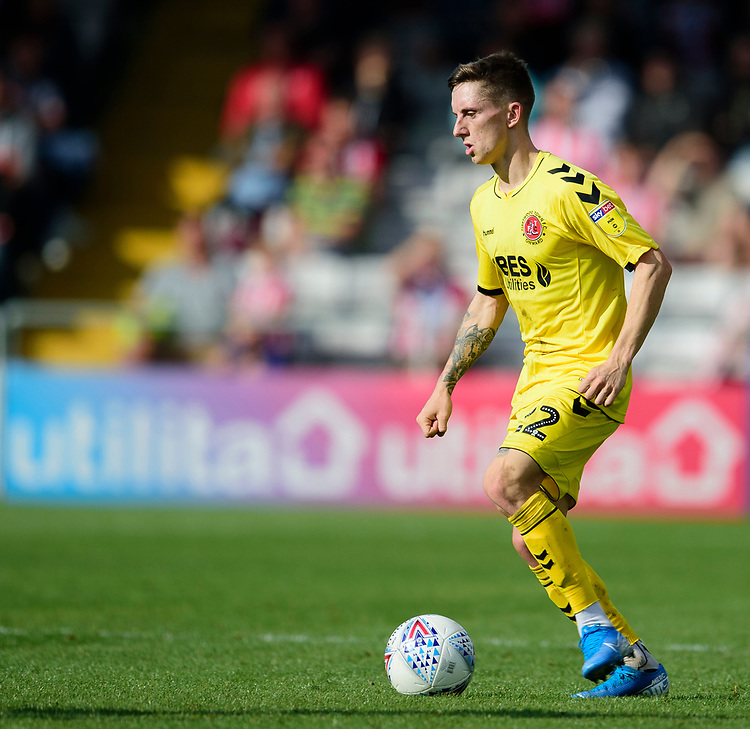 Fleetwood Town's Ashley Hunter<br /> <br /> Photographer Andrew Vaughan/CameraSport<br /> <br /> The EFL Sky Bet League One - Lincoln City v Fleetwood Town - Saturday 31st August 2019 - Sincil Bank - Lincoln<br /> <br /> World Copyright © 2019 CameraSport. All rights reserved. 43 Linden Ave. Countesthorpe. Leicester. England. LE8 5PG - Tel: +44 (0) 116 277 4147 - admin@camerasport.com - www.camerasport.com