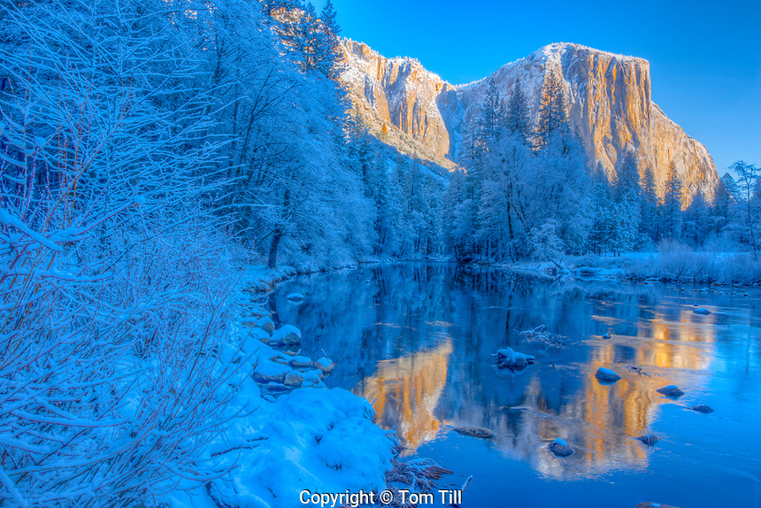 El Capitan reflected in Merced River, California Yosemite Natiional Park Sierra Nevada Mountains
