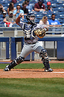 Northwest Arkansas Naturals catcher Allan de San Miguel (11) throws to second base during the game against the Tulsa Drillers at Oneok Stadium on May 1, 2016 in Tulsa, Oklahoma.  Northwest Arkansas won 7-5.  (Dennis Hubbard/Four Seam Images)