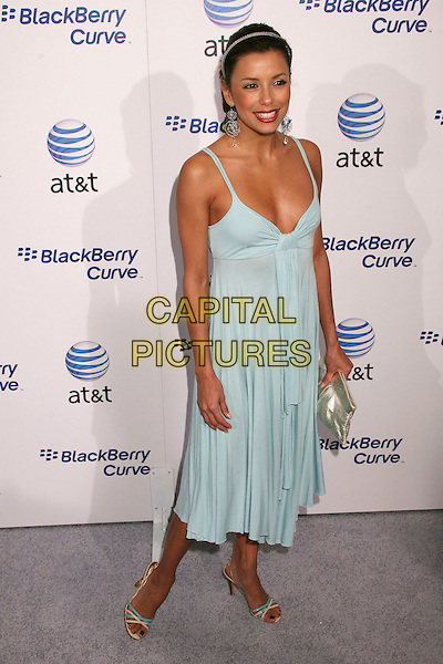 EVA LONGORIA.AT&T's BlackBerry Curve Launch Party at the Beverly Wilshire Hotel, Beverly Hills, California, USA,.31 May 2007..full length red liptick hairband hair band dangly earrings pale green blue dress clutch bag.CAP/ADM/BP.©Byron Purvis/AdMedia/Capital Pictures.