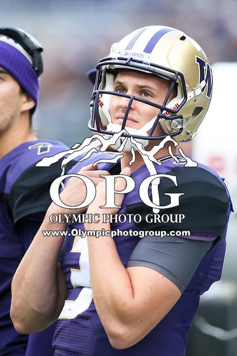 17 September 2016:   Washington quarterback Jake Browning watches from the sidelines.  Washington defeated Portland State 41-3 at the University of Washington in Seattle, WA.