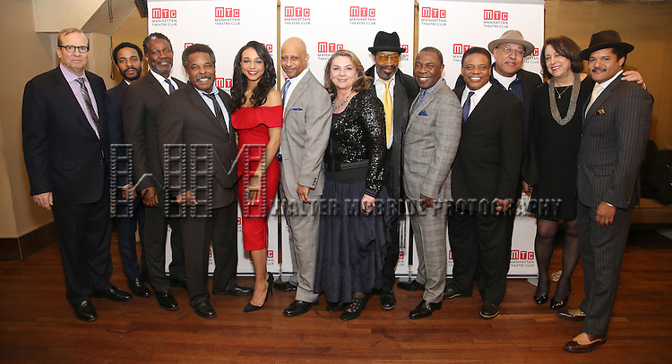 Barry Grove, Andre Holland, John Douglas Thompson, Ray Anthony Thomas, Carra Patterson, Ruben Santiago-Hudson, Constanza Romeo, Anthony Chisholm, Michael Potts, Harvy Blanks, Keith Randolph Smith, Lynne Meadow and Brandon J. Dirden attends August Wilson's 'Jitney' Broadway opening night after party at Copacabana on January 19, 2017 in New York City.