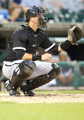 August 04, 2010: Chicago White Sox catcher A.J. Pierzynski (#12) during game action between the Chicago White Sox and the Detroit Tigers at Comerica Park in Detroit, Michigan.  The White Sox defeated the Tigers 4-1.