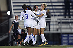 DURHAM, NC - NOVEMBER 17: Duke's Kayla McCoy (center) celebrates her goal with Rebecca Quinn (CAN) (right) and Imani Dorsey (3). The Duke University Blue Devils hosted the Oklahoma State University Cowboys on November 17, 2017 at Koskinen Stadium in Durham, NC in an NCAA Division I Women's Soccer Tournament Second Round game. Duke won the game 7-0.