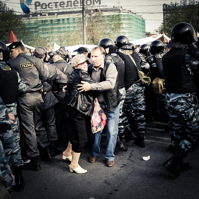 Protesters clashed with riot police in Moscow on Sunday in the most violent demonstration yet against Vladimir Putin's rule, on the eve of his return to the presidency. About 250 participants were detained after an attempt to break police lines to march to the Kremlin. Moscow Russia 2012