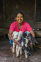 Myanmar/Burma, Bago. Ohmar, a goat herder. Ohmar has 18 goats & she was able to buy 8 of them with a BRAC loan. They have about 5 baby goats a year, she sells the goats to butchers and makes about $150 a goat. She and her husband are just starting this business and doing it together, they make about $750 a year. They have two children and hope to well educate their children as well as leave them some inheritance. Model released, MR-Myanmar-128