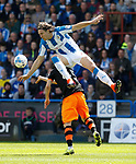 Fernando Forestieri of Sheffield Wednesday in action with Michael Hefele of Huddersfield Town  during the English Championship play-off 1st leg match at the John Smiths Stadium, Huddersfield. Picture date: May 13th 2017. Pic credit should read: Simon Bellis/Sportimage