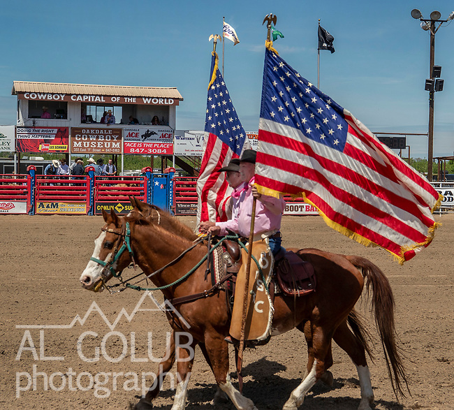 Cowboy Capital of the World grand entry at the 68th annual Oakdale Saddle Club Rodeo on Sunday, April 14, 2019.  (Al Golub/Record Photo)