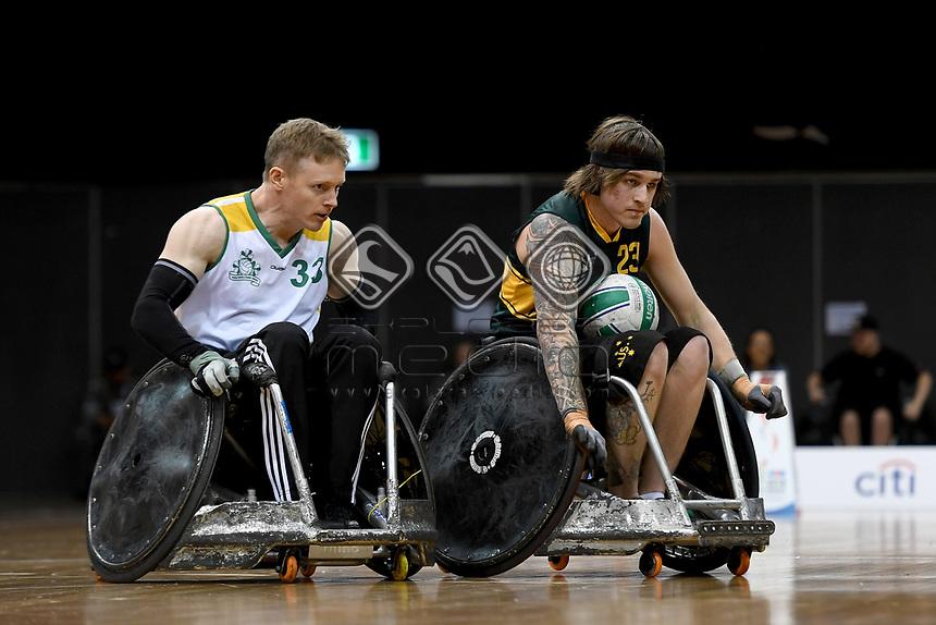 Jayden Warn (AUS)  vs Ireland<br /> Australian Wheelchair Rugby Team<br /> 2018 IWRF WheelChair Rugby <br /> World Championship / Day 4<br /> Sydney  NSW Australia<br /> Wednesday 8th August 2018<br /> © Sport the library / Jeff Crow / APC