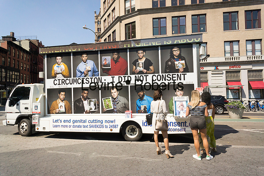 "Advocates against circumcision park their promotional truck in Union Square in New York on Tuesday, July 12, 2016. The outreach vehicle is part of the group ""Intaction"" which advocates the abandonment of circumcision. (© Richard B. Levine)"