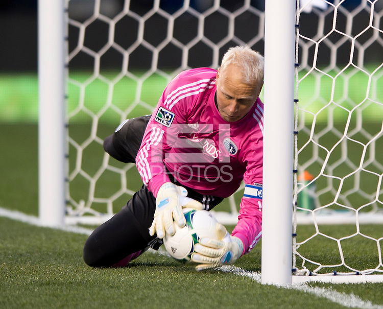 Sporting Kansas City goalkeeper Jimmy Nielsen (1) makes a save on the line during the game at PPL Park in Chester, PA.  Kansas City defeated Philadelphia, 3-1.