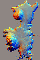 Pictured: Airborne laser scanning (LiDAR) of Ramsey Island (Crown: CHERISH PROJECT 2017. Produced with EU funds through the Ireland Wales Co-operation Programme 2014-2020. All material made freely available through the Open Government Licence).<br /> Re: A new airborne laser survey of RSPB Ramsey Island has revealed a hidden archaeological landscape thought to date back 4,500 years to the Bronze Age, changing our understanding of how this isolated Pembrokeshire island was settled while providing a powerful new management tool for the RSPB.<br /> The airborne laser survey was commissioned by archaeologists from the Royal Commission on the Ancient and Historical Monuments of Wales as part of the new European-funded Ireland-Wales CHERISH project investigating climate change and coastal heritage. The data captured during the survey has enabled the creation of a highly detailed 3D model of Ramsey Island for the first time. Not only has this led to the discovery of new archaeological sites but it also provides an accurate and precise dataset which can be used to monitor environmental changes on the island as a result of climate change. The CHERISH Project is funded through the EU's Ireland Wales Co-Operation Programme 2014-20.<br /> The new survey has revealed exciting sites such as Bronze Age round barrows, a prehistoric coastal promontory fort, the possible site of a lost chapel and a multitude of ancient field systems. These discoveries are forcing archaeologists to change their interpretation of how humans would have interacted with Ramsey Island during the last 4,000-5,000 years.