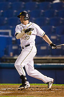 Michigan Wolverines outfielder Michael O'Neill #10 at bat during a game against the Pittsburgh Panthers at the Big Ten/Big East Challenge at Florida Auto Exchange Stadium on February 17, 2012 in Dunedin, Florida.  (Mike Janes/Four Seam Images)