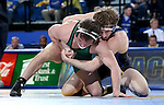 BROOKINGS, SD - FEBRUARY 4:  Luke Zilverberg from South Dakota State controls Koy Wilkinson  from Utah Valley during their 165 pound match at Frost Arena Saturday night. (Photo by Dave Eggen/Inertia)