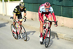Nils Politt (GER) Katusha-Alpecin tries to drop Jerome Cousin (FRA) Direct Energie from the breakaway group near the finish of Stage 5 running 165km from Salon-de-Provence to Sisteron, France. 8th March 2018.<br /> Picture: ASO/Alex Broadway | Cyclefile<br /> <br /> <br /> All photos usage must carry mandatory copyright credit (&copy; Cyclefile | ASO/Alex Broadway)