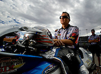 Oct. 31, 2008; Las Vegas, NV, USA: NHRA pro stock motorcycle rider Chris Rivas during qualifying for the Las Vegas Nationals at The Strip in Las Vegas. Mandatory Credit: Mark J. Rebilas-